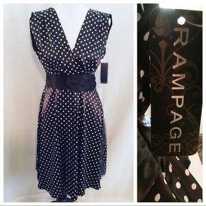 NWT Rampage Blk & White Polka Dot Dress - Size 9